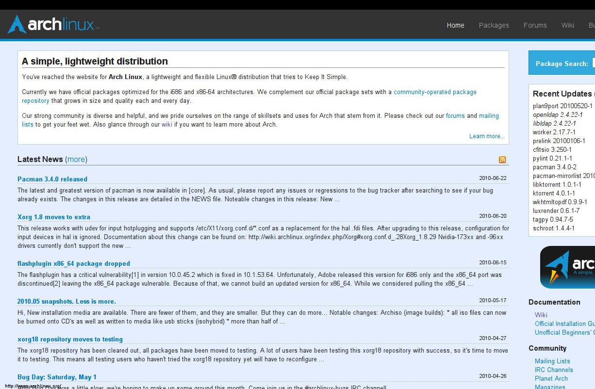 Arch's simplistic plain website
